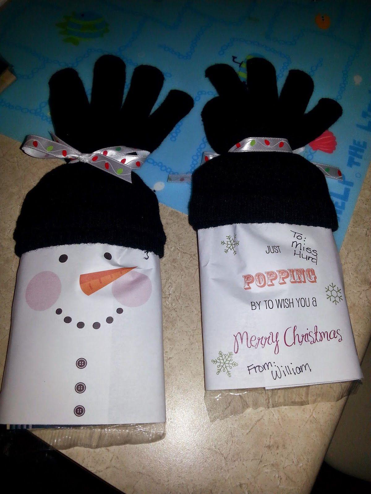Snowman Popcorn Wrapper - Free Printable | Snowman popcorn ...