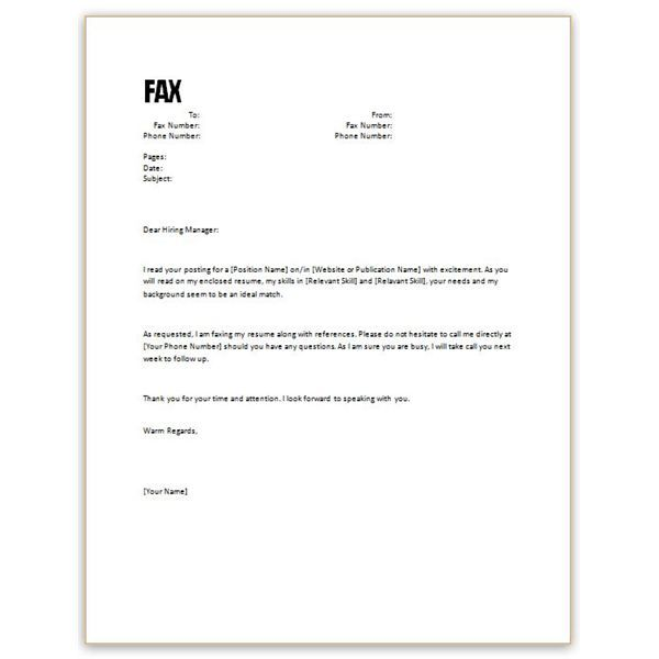Free Resume Cover Letter Sample | Free Microsoft Word Cover Letter Templates:  Letterhead and Fax