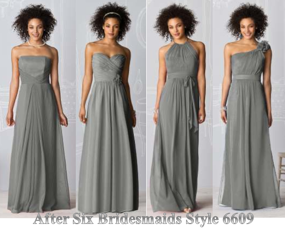 Long Grey Dresses Diffe Dress For Each Bridesmaid