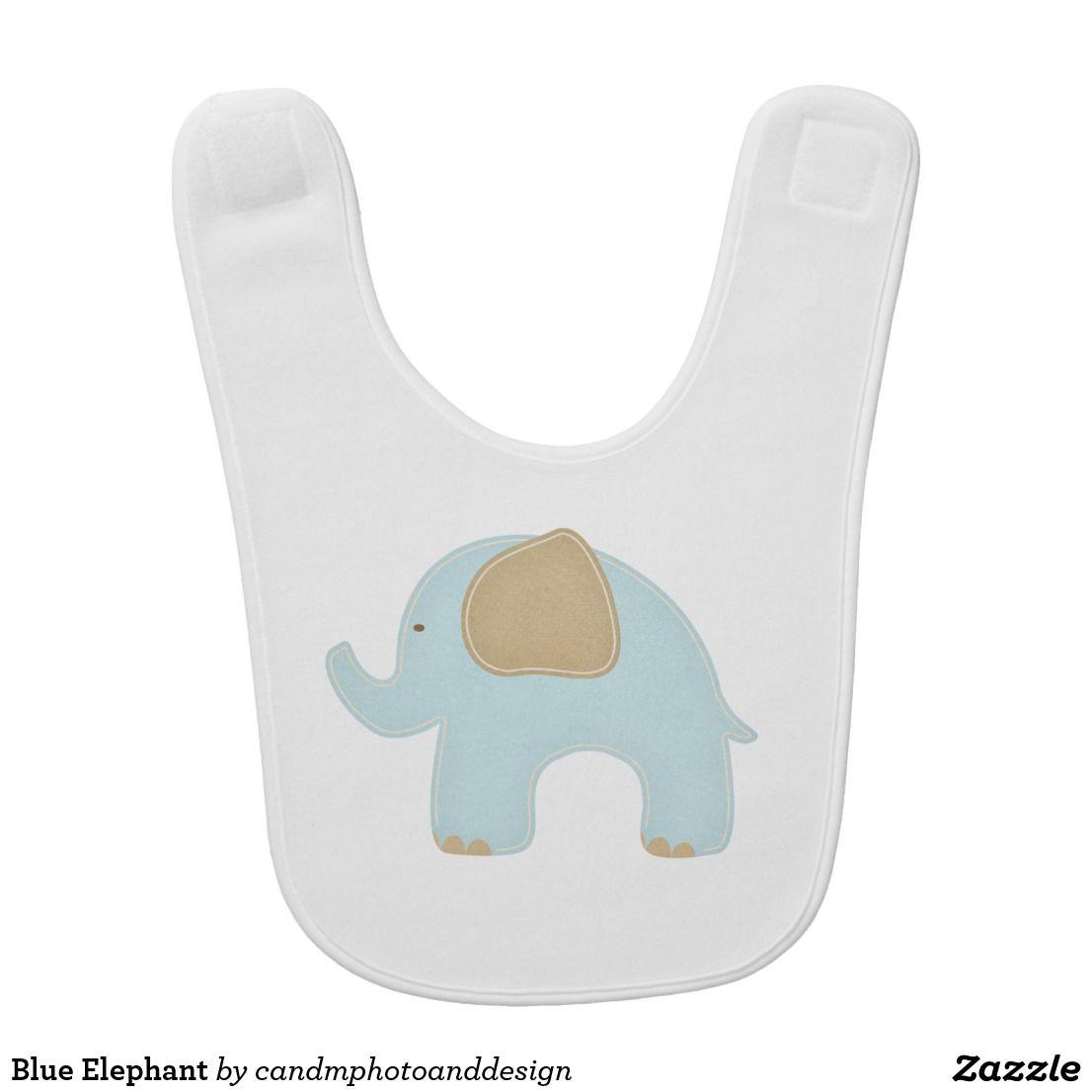 10a8ee928702 Blue Elephant Baby Bib