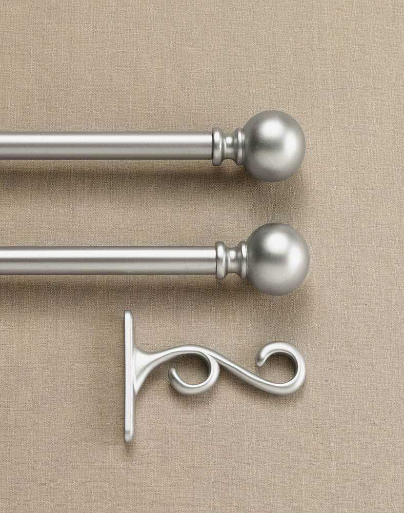 Double Curtain Rod Set With Finials / Curtainworks.com