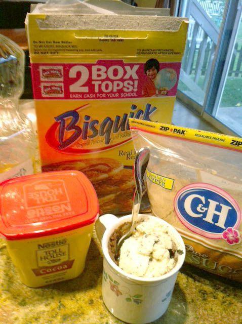 No EGG 2 minute Brownie Mug Cake! 1/4 C. Bisquick 1/4 C ...