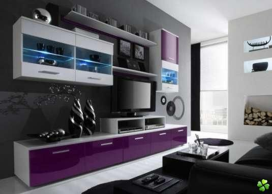 table de tv violet | Meuble TV LED PANAMA VIOLET - mobilier ...