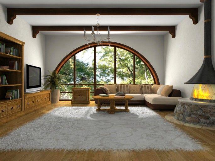 Maskulin Wohnzimmer mit großen halb Kreis Fenster, große - grose moderne wohnzimmer