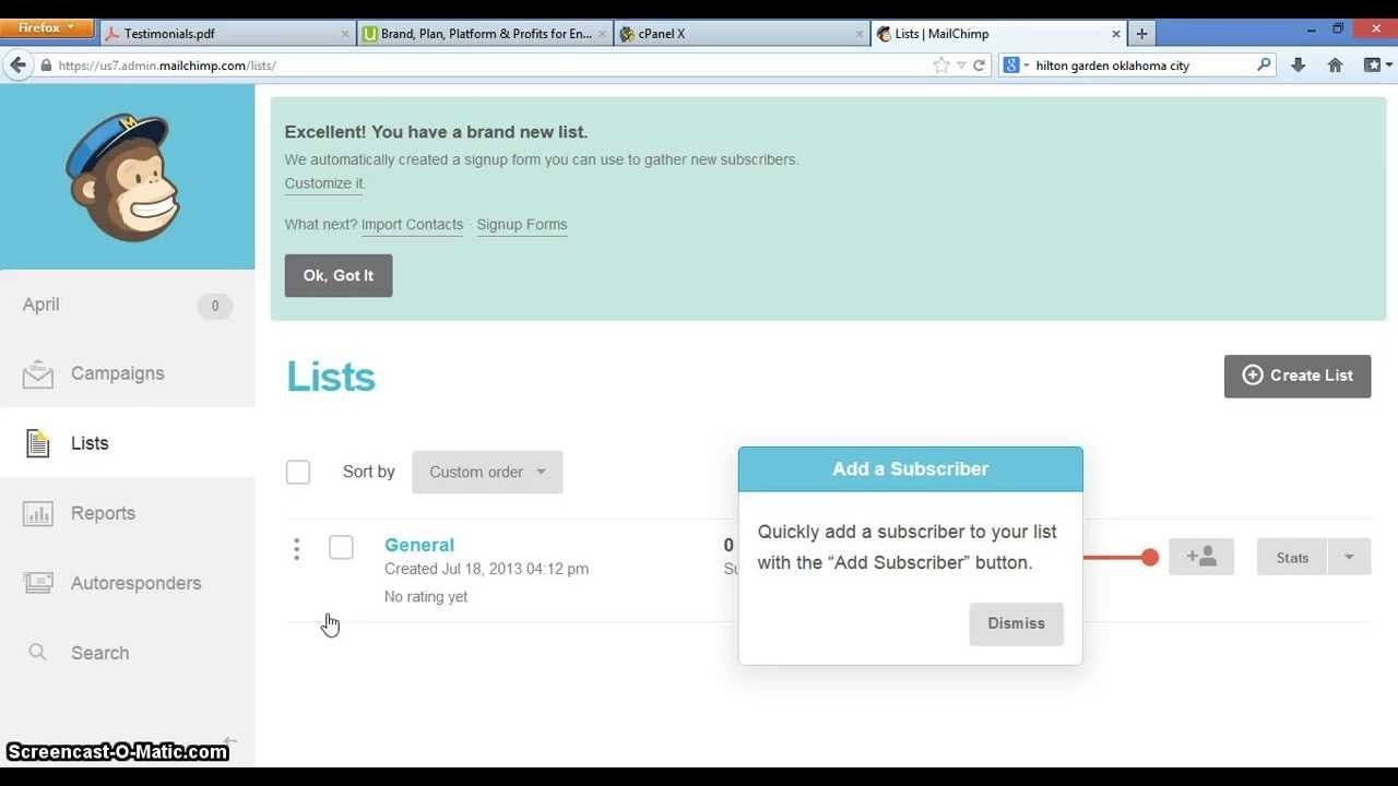 Creating Opt In Forms using Mailchimp