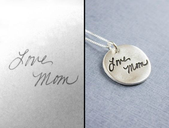 This fine silver (.999% silver)pendant is created using your actual handwriting (pendant is approximately 7/8, though each will vary slightly depending on the layout of the handwriting). Please use the photo as a guide for what will fit on the pendant. These are one sided pieces only- we cannot put anything on the back. Its pertinent that the photo you submit is clear and in focus. A blurry photo will result in a blurry pendant. We offer many signature/handwriting options in our shop…