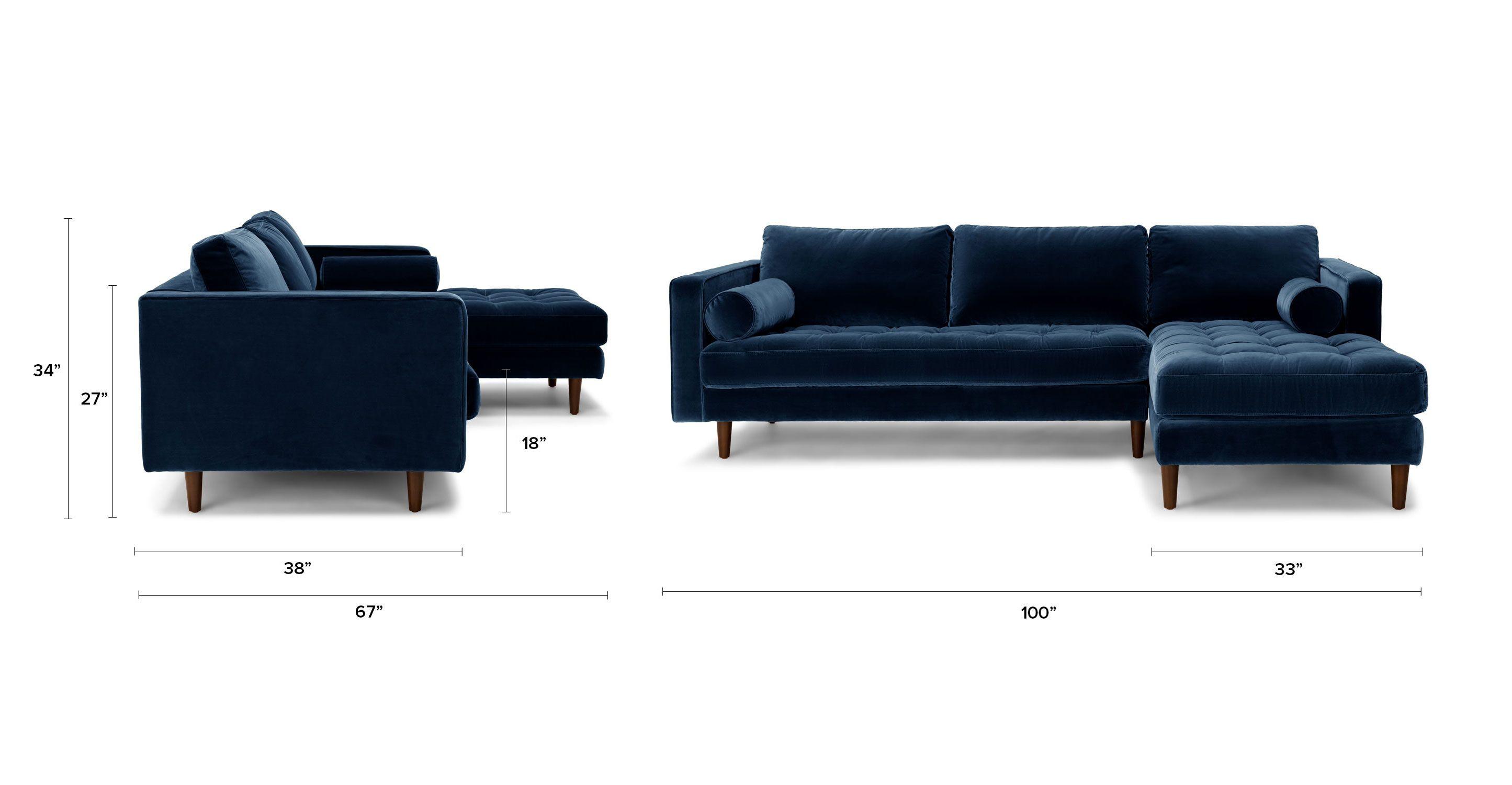 Dark Blue Velvet Right Sectional - Tufted | Article Sven Modern ...