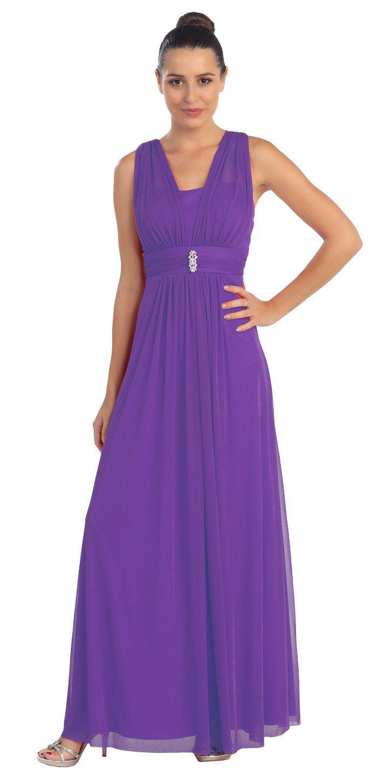 CLEARANCE - Purple Long Semi Formal Dress Wide Shoulder Straps ...