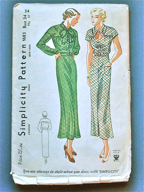 Vintage 1930s sewing pattern Simplicity 1683 .  Womens dress.