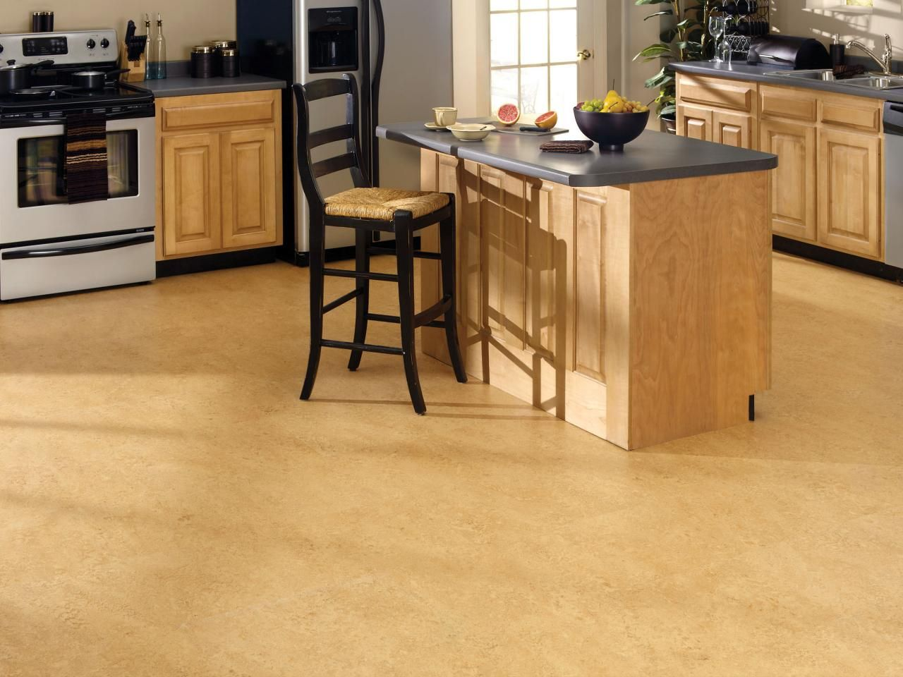 Kitchen Floor Materials Corkoleum Flooring Is An Eco Friendly Linoleum Made From Non Toxic