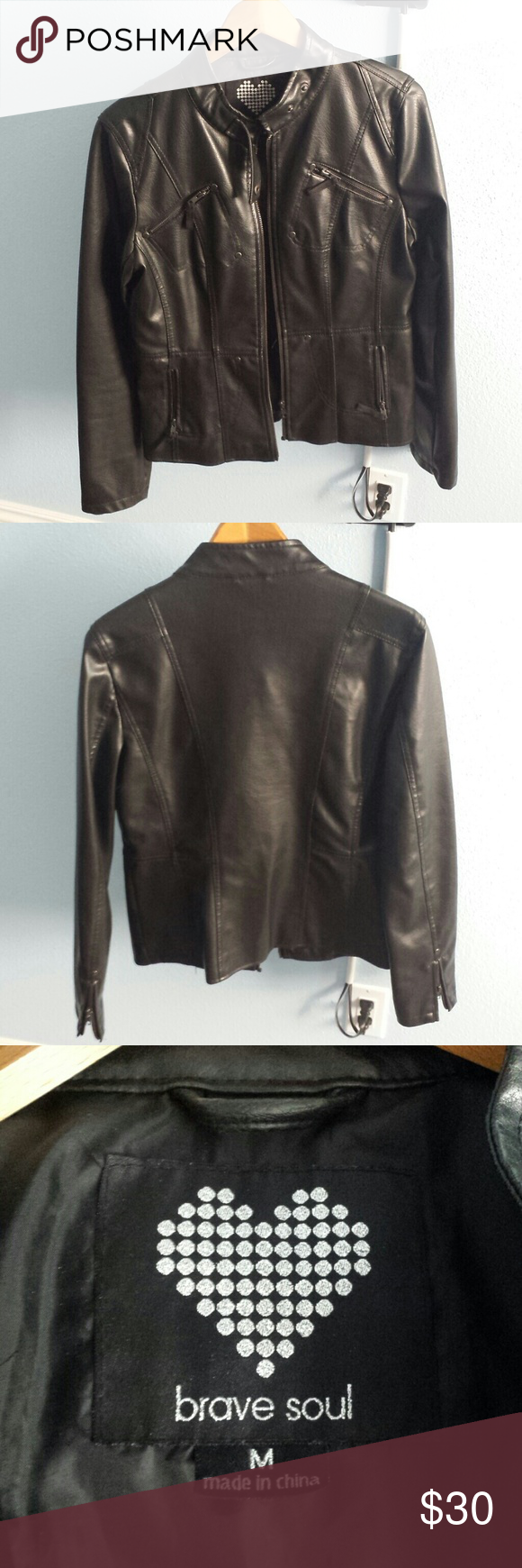 Faux Leather Jacket Shell Is 100 Polyester With Pvc Coating Lining Is 100 Polyester Brave Soul Jackets Coats Fashion Clothes Design Fashion Design