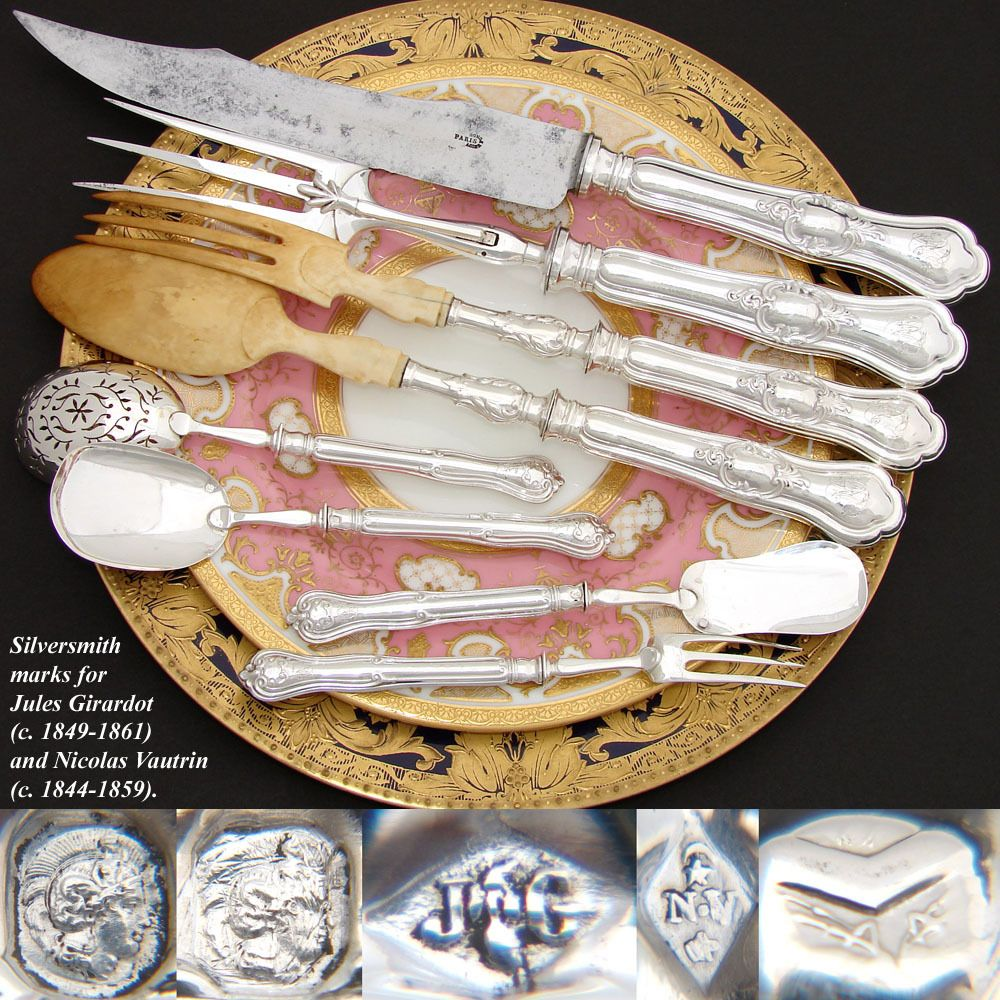 Elegant Antique French Sterling Silver 8pc Meat, Salad & Hors d'Oeuvres Serving Implement Set, Fitted Box