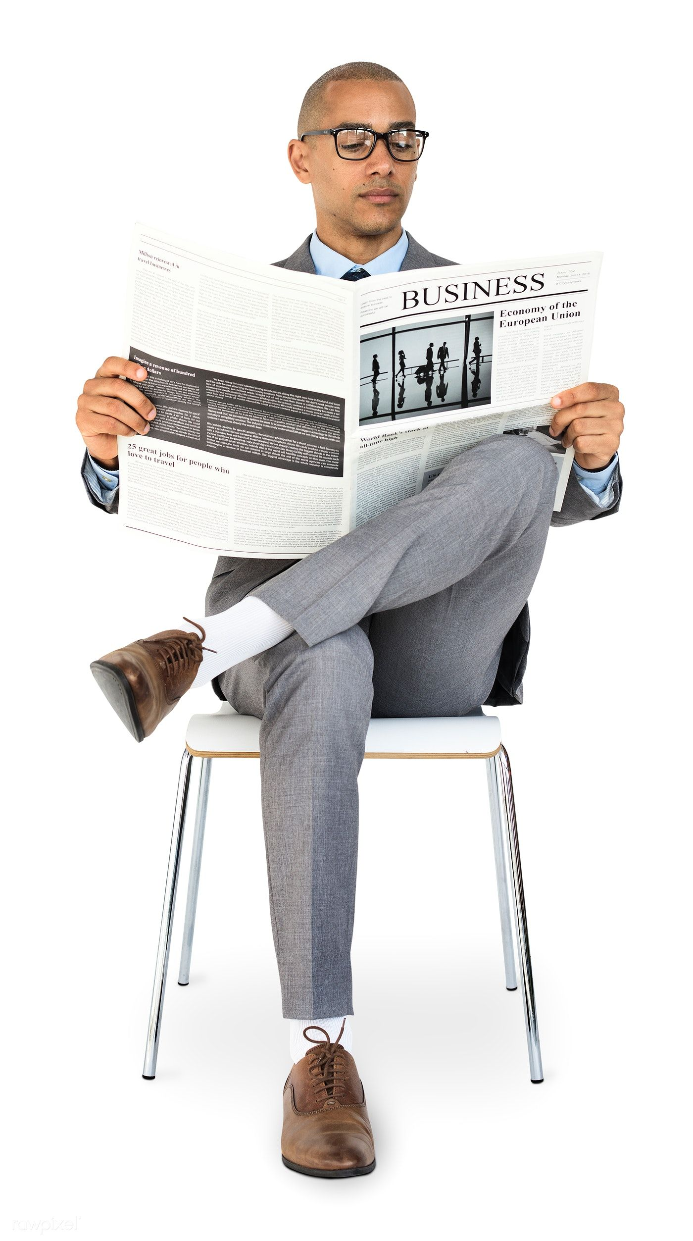 Download Premium Psd Of African Descent Business Man Reading Newspaper 4704 Business Man Photography Business Man Business Portrait