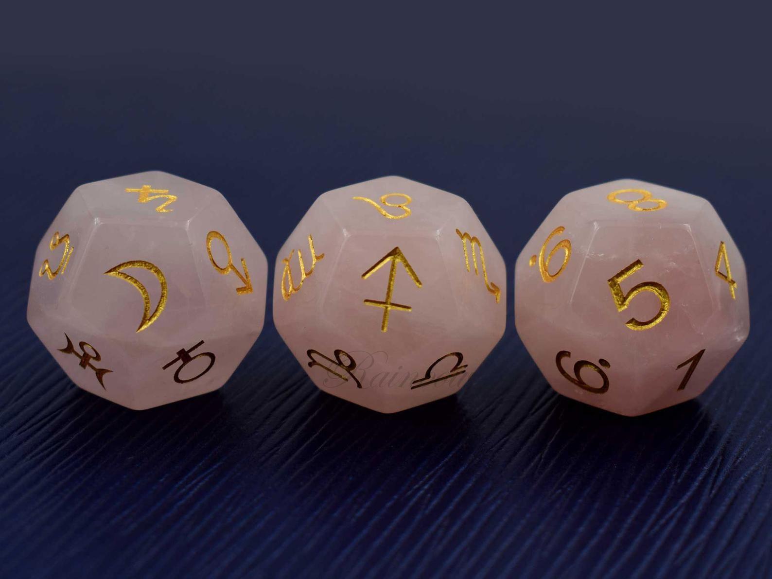 D12 White Quartz Crystal Gem Stone Zodiac Astrology Planets Dice Set Astrodice
