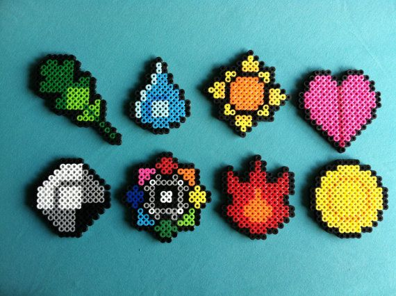 pokemon gym leader badges inspired perler bead magnets set of eight pinterest diy basteln. Black Bedroom Furniture Sets. Home Design Ideas