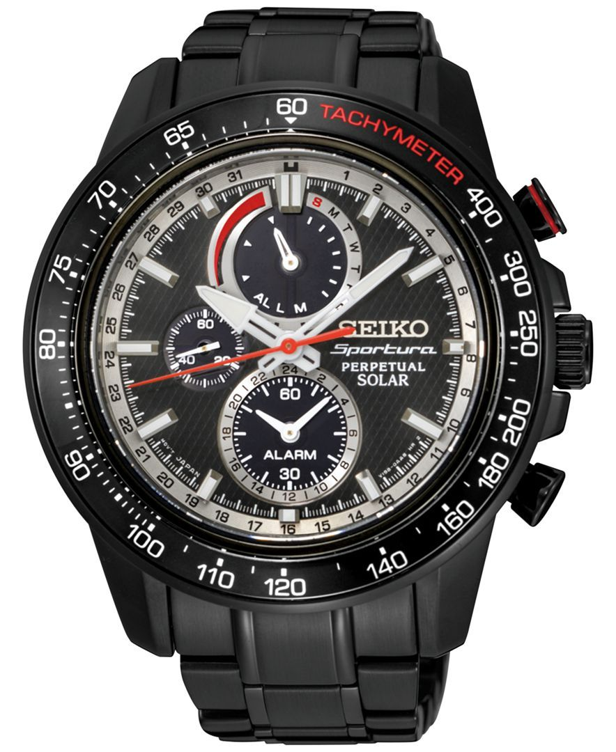 276fc50ed07 Seiko Men s Solar Chronograph Sportura Black Stainless Steel Bracelet Watch  45mm SSC373