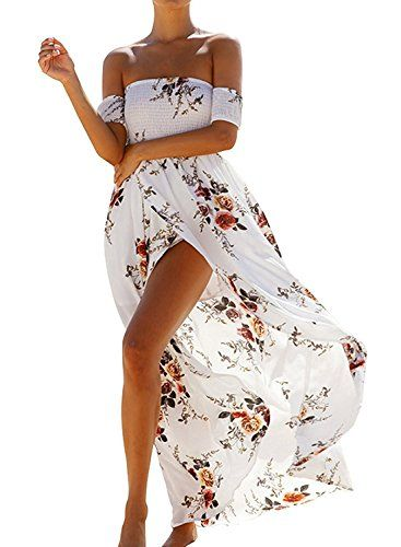 098da103a Boho Style Farktop Womens Off Shoulder Chiffon Long Dress Summer Beach  Floral Print Split Party Maxi Dress *** See this great product.