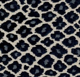 Blue Leopard Chenille Upholstery Fabric Pattern Simba Navy Gorgeous