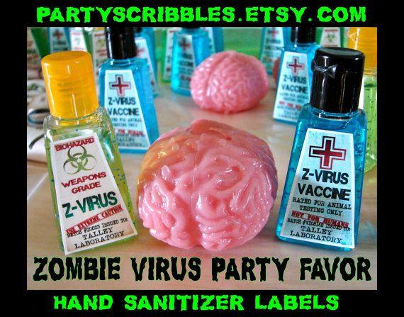 Zombie Apocalypse Favor Labels for the Walking Dead World War Z