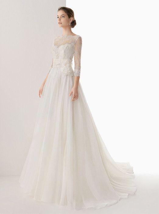 ウェディングドレス長袖七分袖オフショルダーロングトレーンウエディングブライダル結婚式花嫁衣装