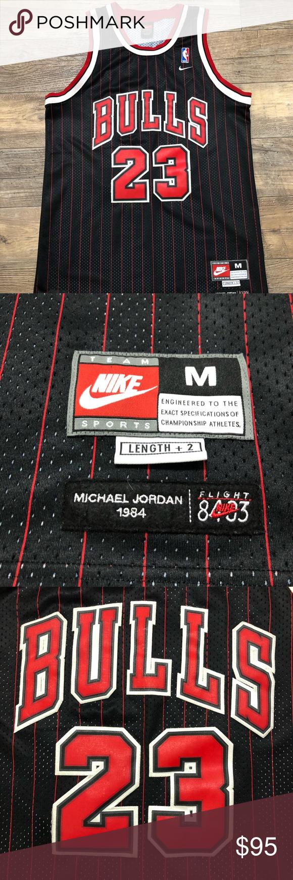 e5bf25ca32b Men's Nike Michael Jordan Chicago Bulls Jersey Men's NIKE SEWN MICHAEL  JORDAN #23 CHICAGO BULLS Pinstripes FLIGHT 8403 SWINGMAN NBA BASKETBALL  JERSEY.