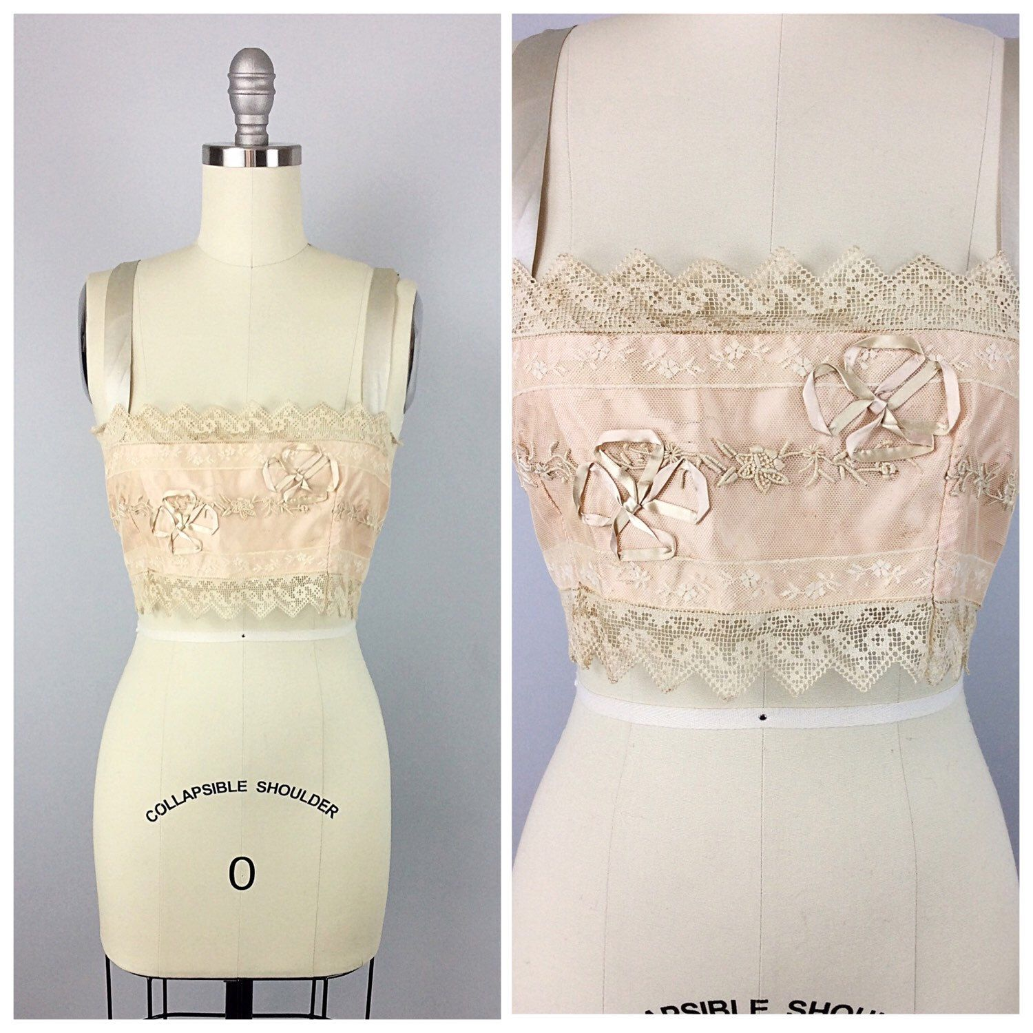 20s Peach Pink Lace Camisole - 1920s Vintage Ribbon Applique Bralette Bra - Small - Size 4 by CheshireVintageShop on Etsy https://www.etsy.com/listing/262805165/20s-peach-pink-lace-camisole-1920s