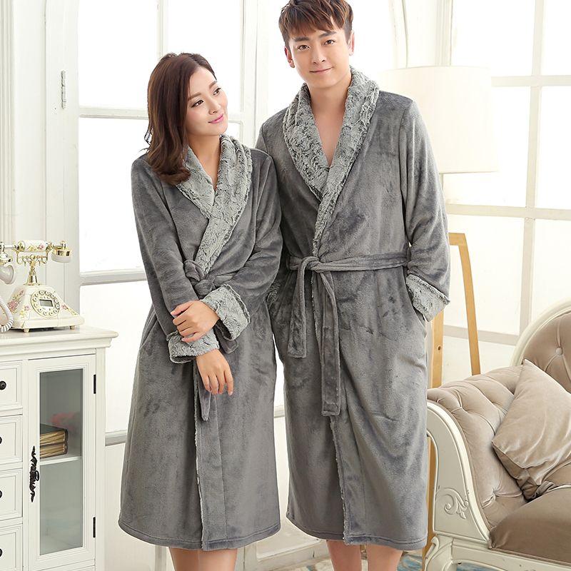 New Fashion Mens Luxury Fur Soft Silk Flannel Extra Long Bath Robe ...