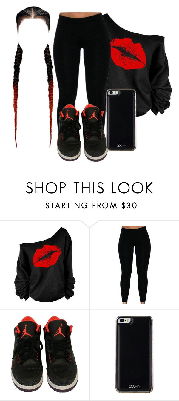 """Red An Black"" by qeens ❤ liked on Polyvore featuring Gooey"