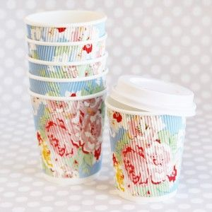 floral latte cups. these are adorable.