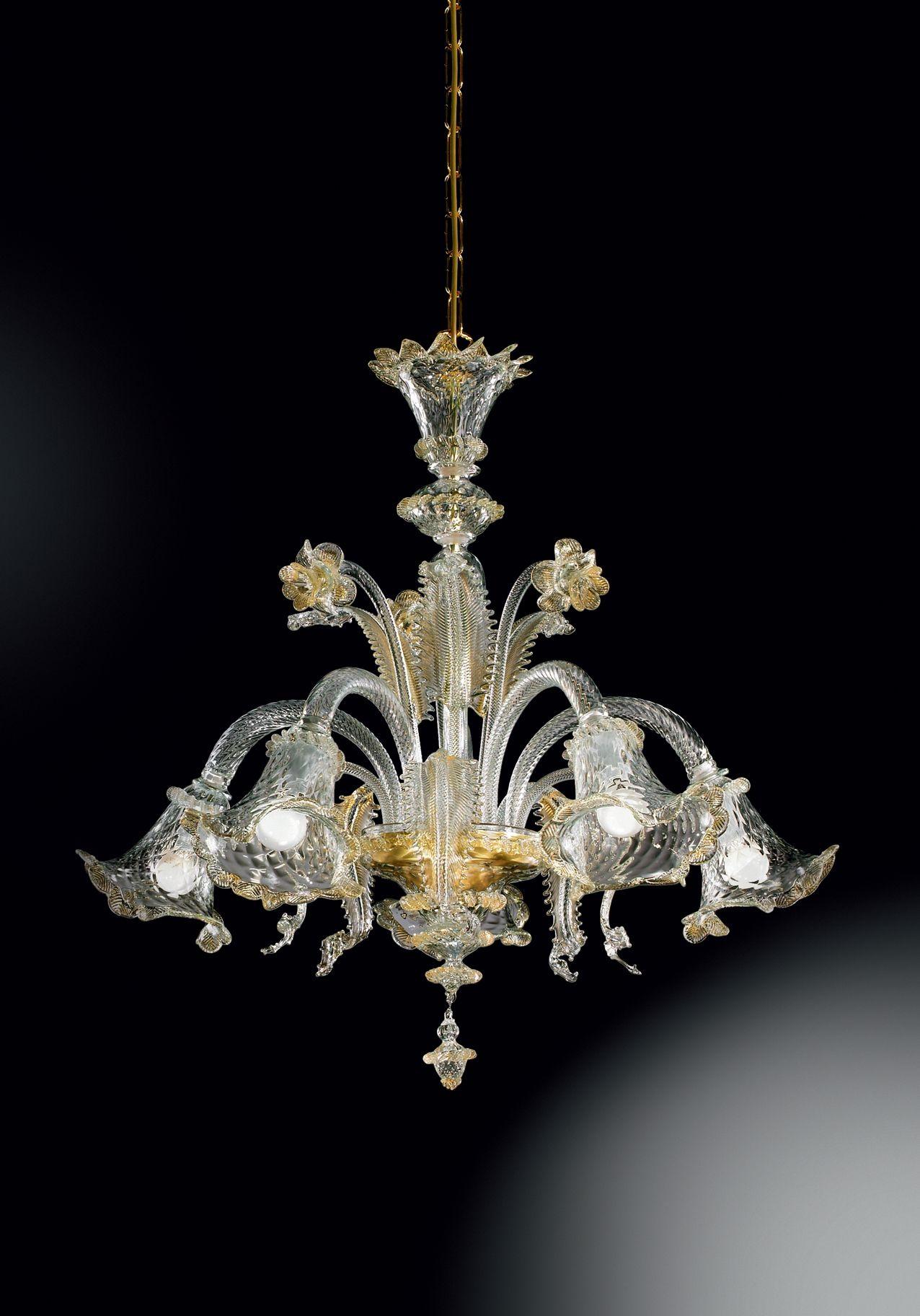 Lampadari In Cristallo Di Murano.Lampadario A 5 Luci Vetro Di Murano Cristallo E Oro Con