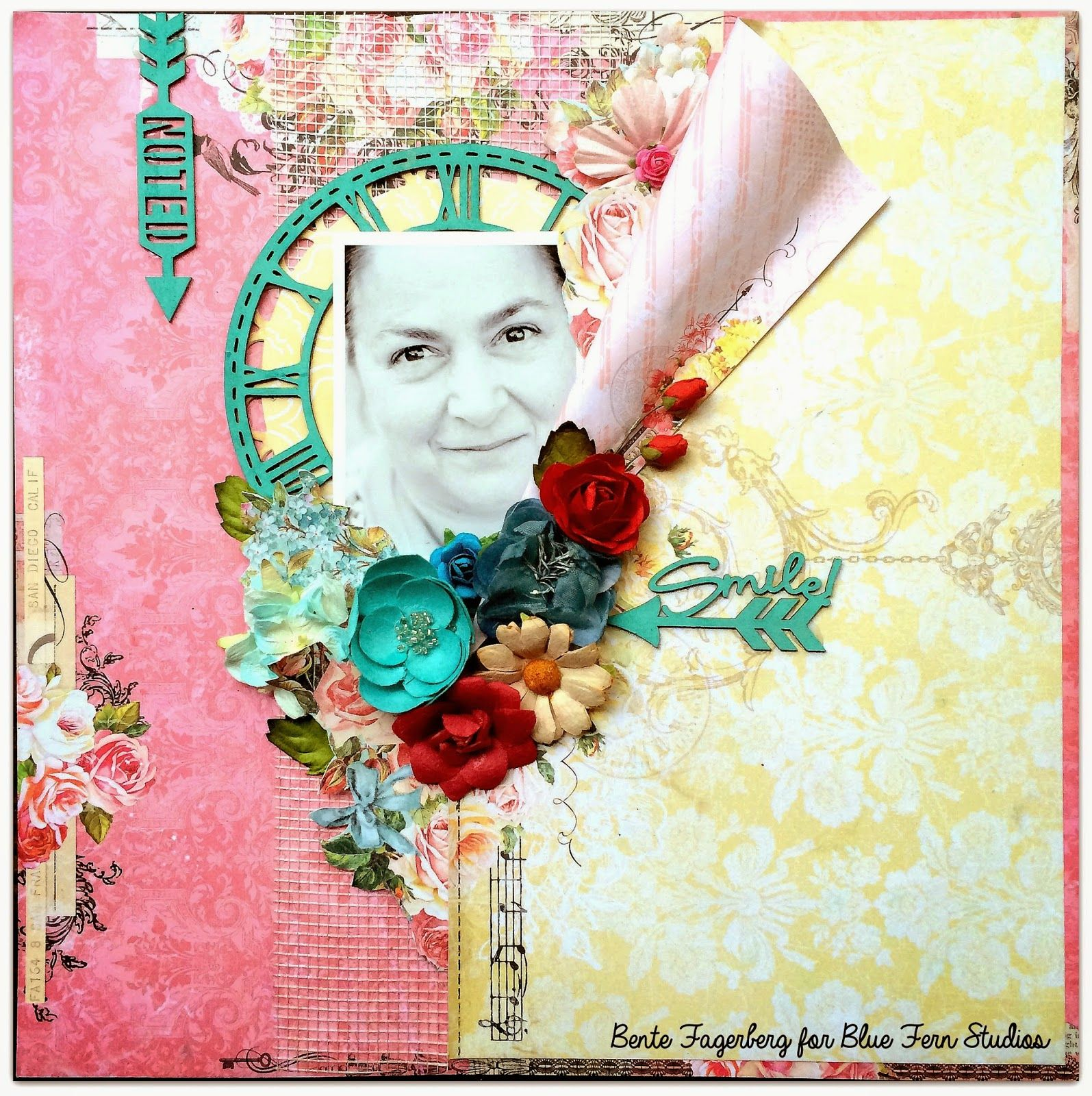 Made by Bente Fagerberg for the Blue Fern Studios DT using the pretty Montage paper collection, the Arrow Words and Roman Clock chipboards.