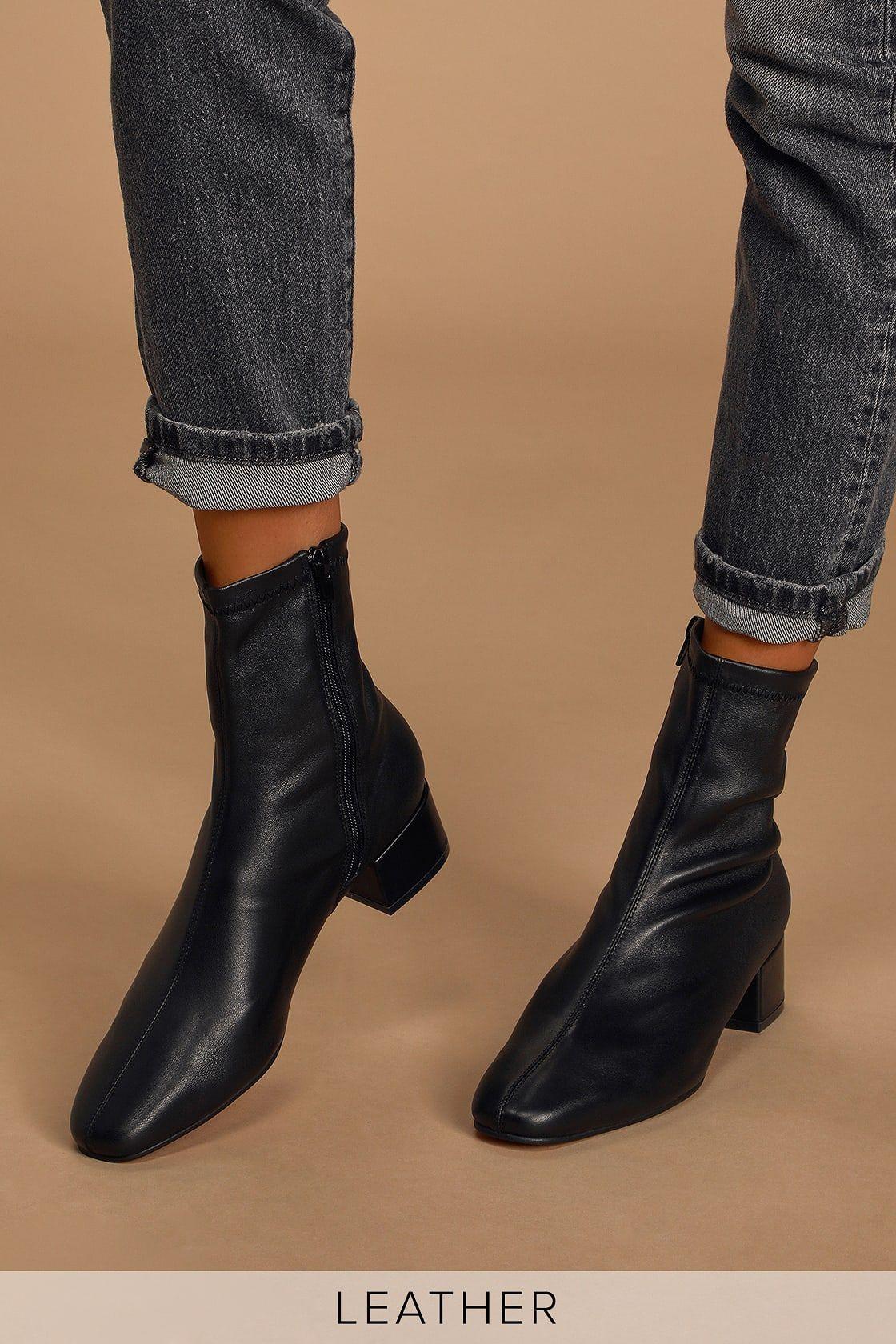 Celine Black Leather Mid-Calf Sock