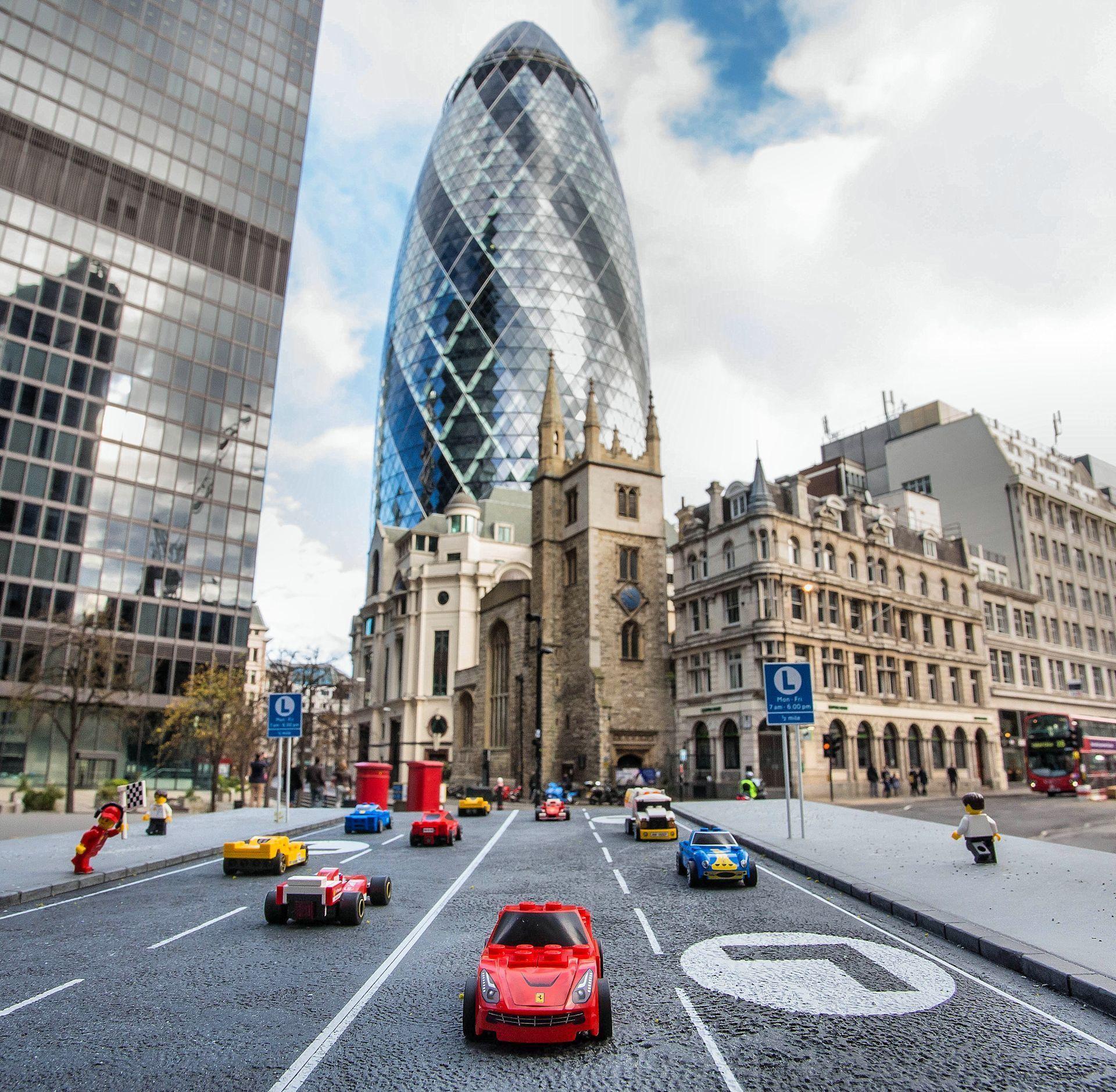 Lego Ferraris roaming the streets of London.