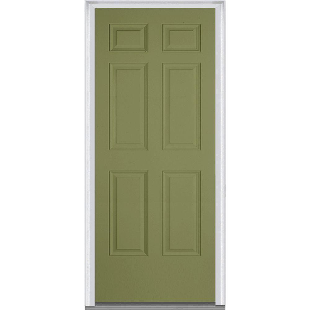 Milliken Millwork 33.5 in. x 81.75 in. 6 Panel Painted Fiberglass Smooth Exterior Door, Sage Green