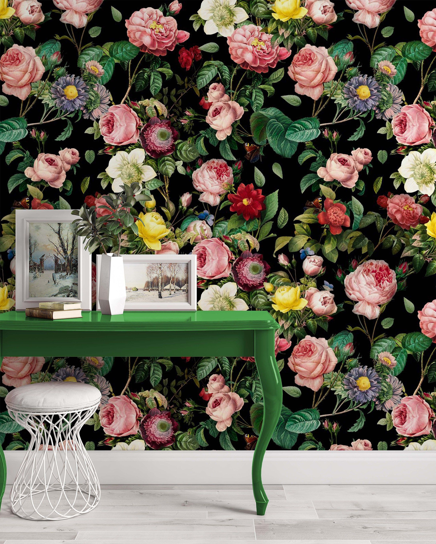 Colorful Roses Dark Floral Flowers Modern Background Wallpaper Etsy Bedroom Murals Home Wall Art Wallpaper Living Room