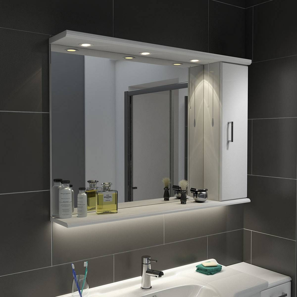 Sienna White 105 Mirror With Lights Now 159 99 Bathroom Mirror Lights White Bathroom Mirror Mirror Unit