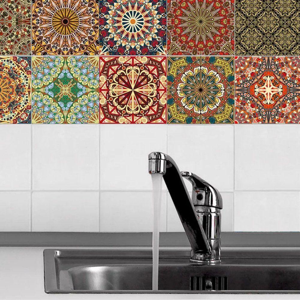 Wishiwin 20 PCS/Set Tile Stickers Art Decorative Traditional ...