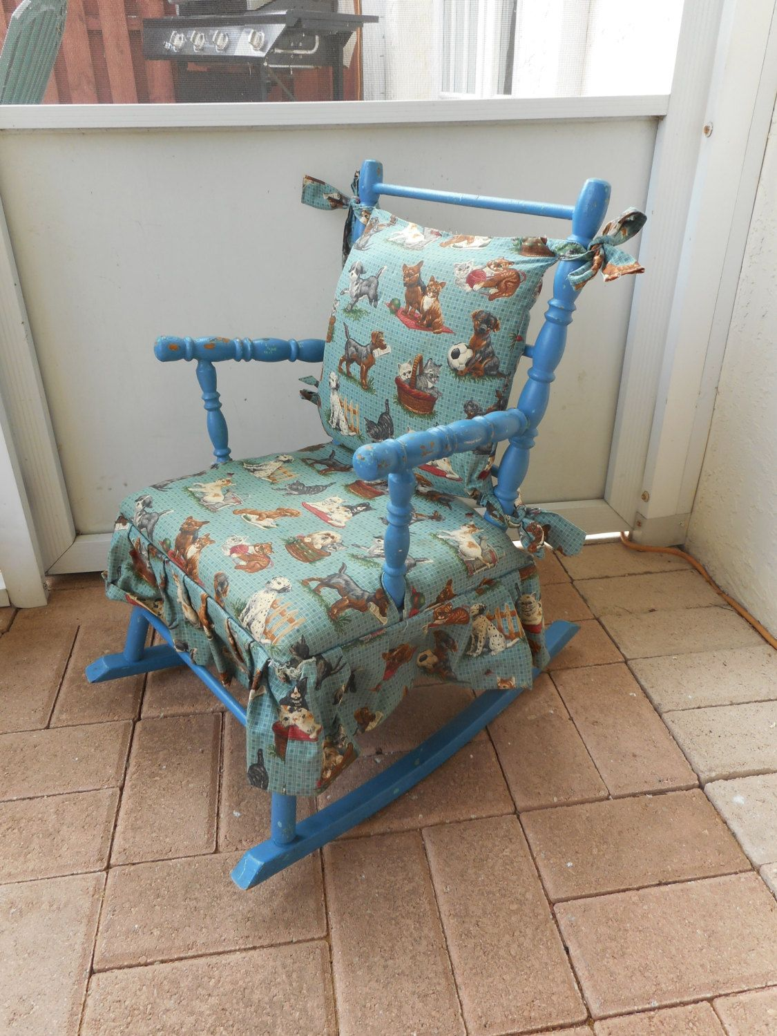 Vintage Childs Wooden Rocking Chair Rocker with Fabric Cushion ...