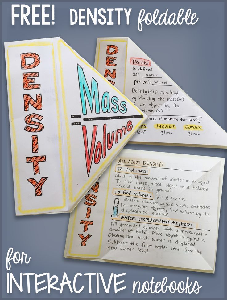 Free Density Interactive Notebook Science Doodle Bundle Science