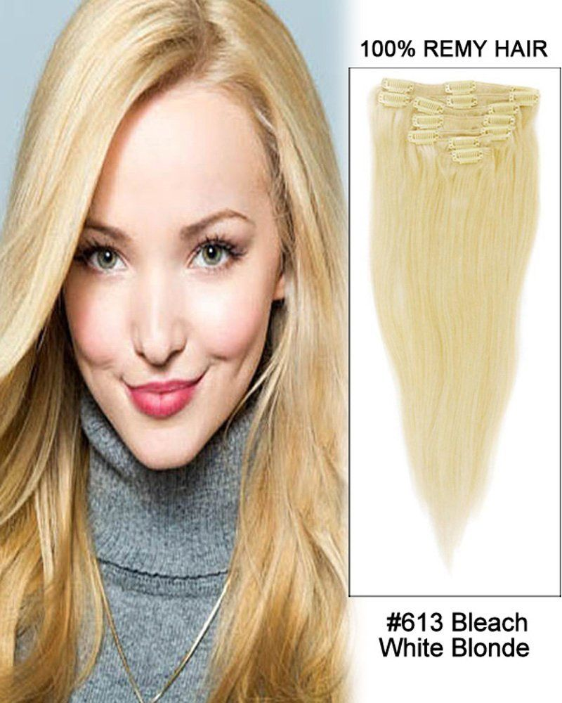 7pcs Straight Clip In Remy Human Hair Extensions613 Bleach White