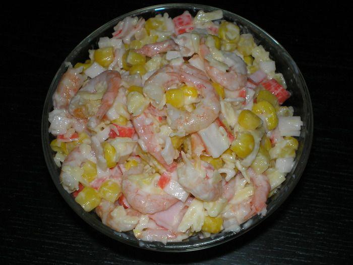 Рецепты салатов с креветками перцем и кукурузой