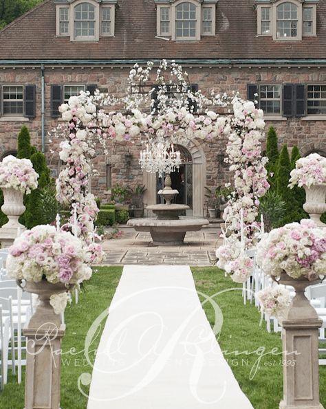 Backyard Pink Flower Wedding Ceremony   Event design ...