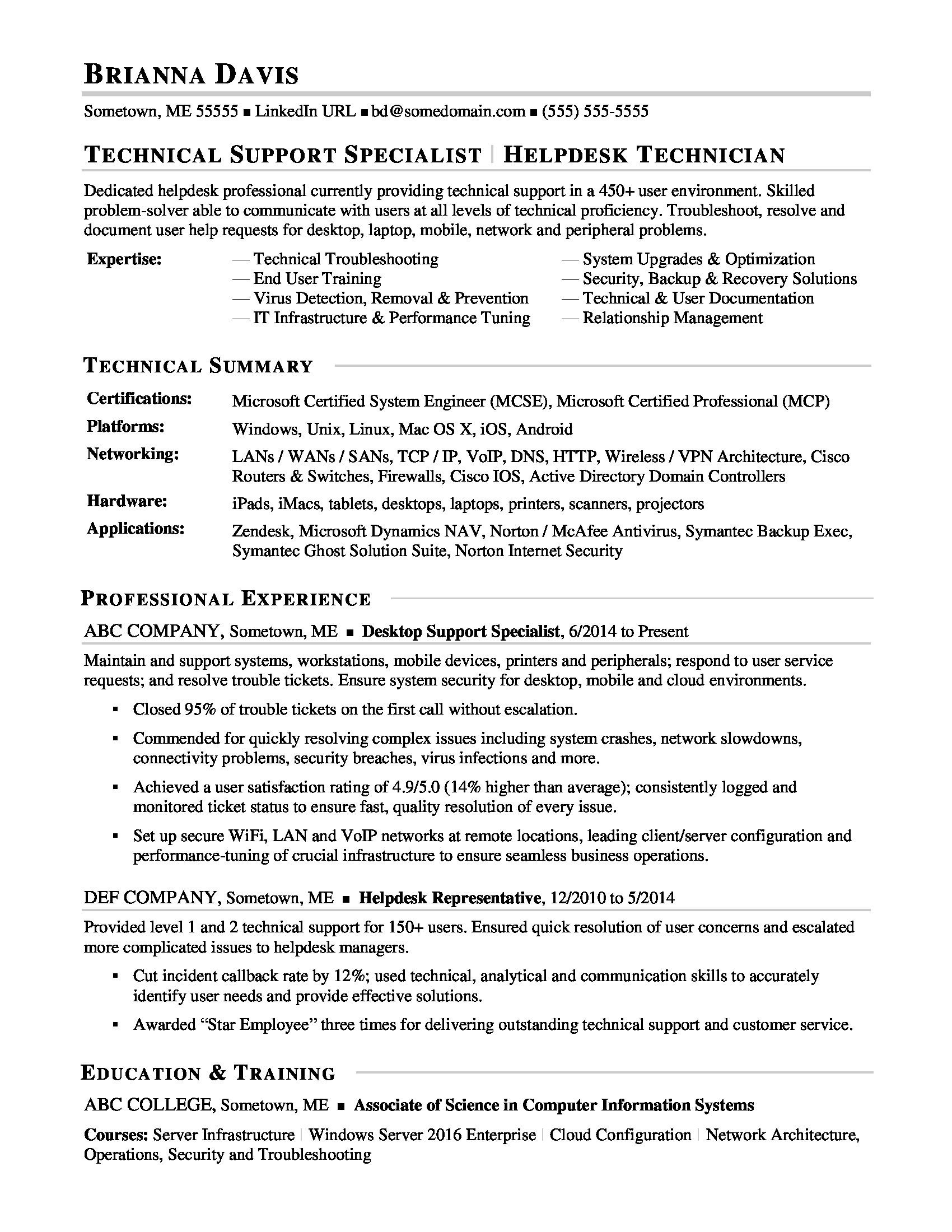 This Sample Resume For An Experienced It Help Desk Professional Shows How You Can Portray Your Unique Qualifications In The Field Job Resume Samples Resume Examples Basic Resume
