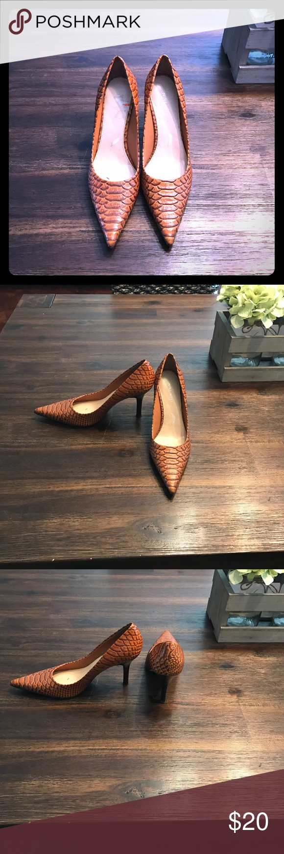 Shoes Peanut butter scale embossed pointy toe pump only worn once Nine West Shoes Heels