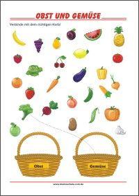 Obst und Gemüse   Übungen zum Ausdrucken für die Vorschule