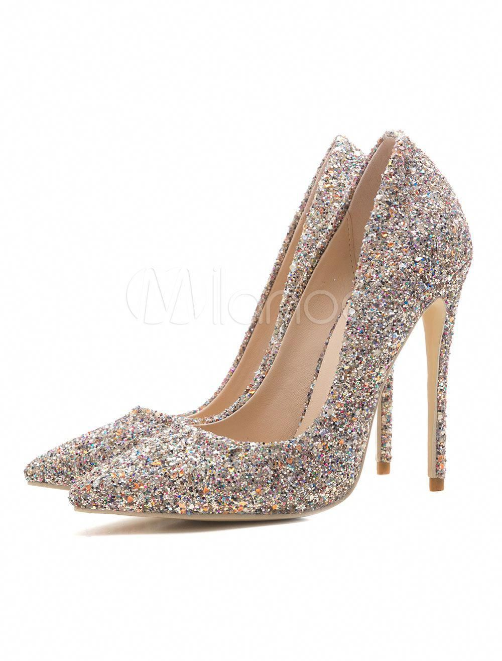 cd8c3d156260 Women Evening Shoes Glitter High Heel Prom Shoes Pointed Toe Gold Slip On  Pumps  Promshoes