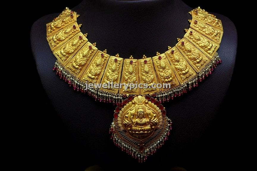 Antique Gold Necklace Design By Bhima Gold Jewellery Designs