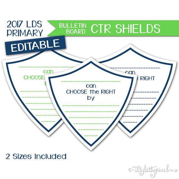 Bulletin Board CTR Shields - LDS Primary 2017 Editable PRINTABLE ...
