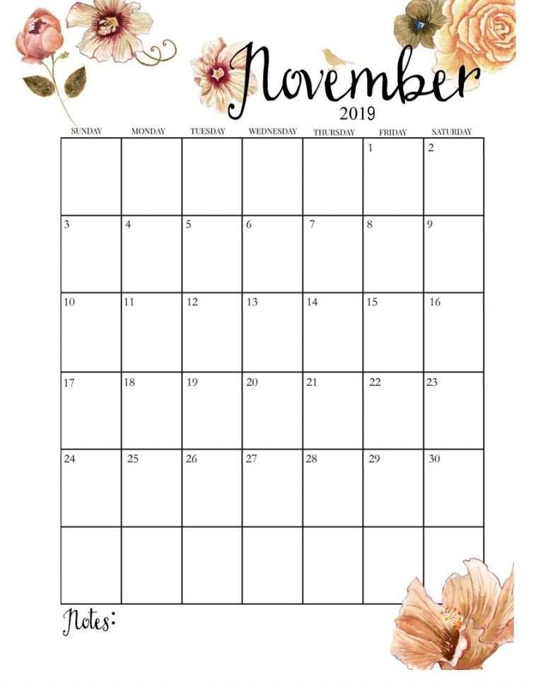 picture about Pretty Calendars identified as Adorable November 2019 Calendar Planner recommendations November