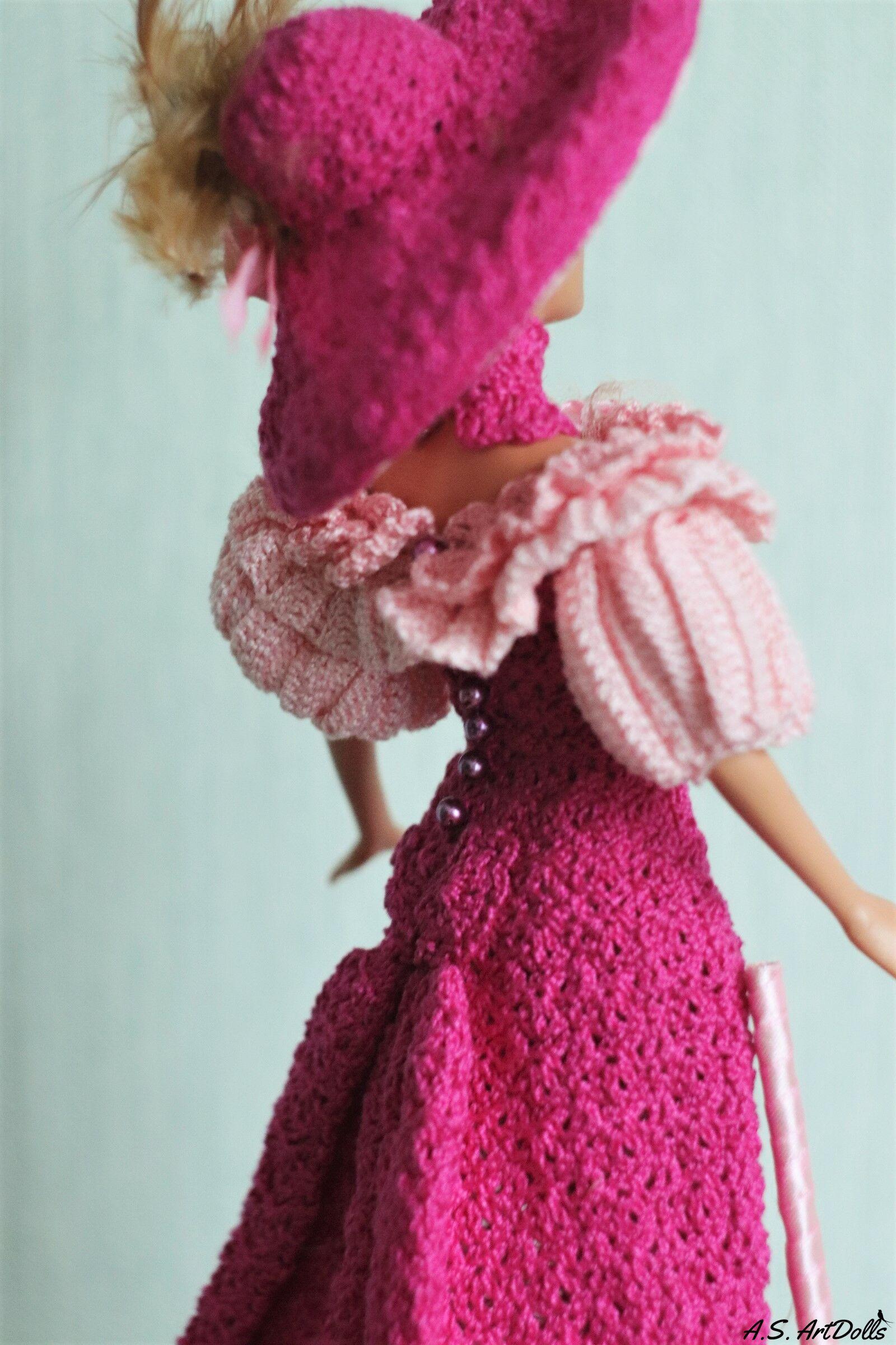 Doll dress Crochet doll dress Promenade doll dress - Victorian doll dress  #historicaldollclothes